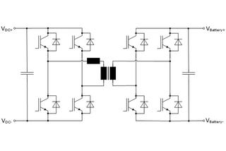 Fig. 4: DC-DC converter with galvanic isolation (Dual Active Bridge)
