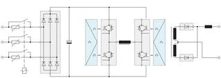 Block diagram of a primary side switched welding power supply