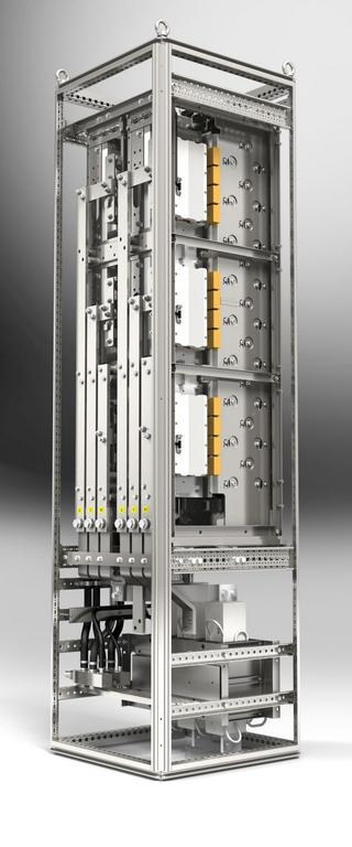 An example of two stacks integrated into a 600 x 600 x 2,200mm cabinet, equipped with water-cooled du/dt filter